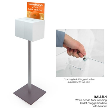 Free Standing White Black or Clear Lockable Ballot Box