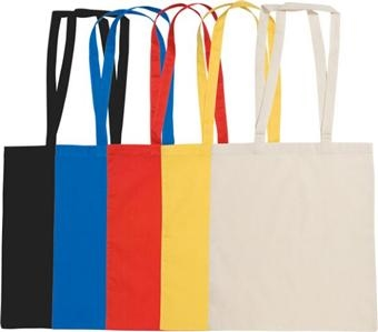 5009 Personalised 140 gsm Colour Cotton Shopper & Exhibition Shoulder Bags (Black, Blue, Red, Yellow) Logo Printed