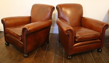 Club Chair Antique Leather Pair