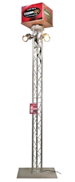 Exhibition Free Standing Display Tower Light Stand With Rotating Sign