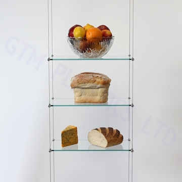 Cable Suspended Shelving Kit - 3 x Glass 200 x 600