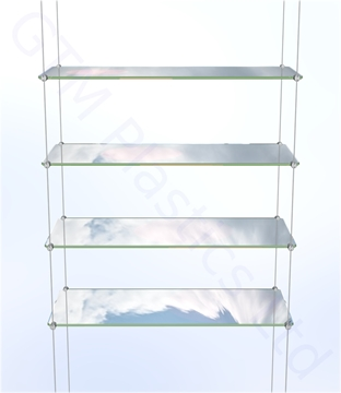Cable Suspended Shelving Kit - 4 x Acrylic 200 x 600