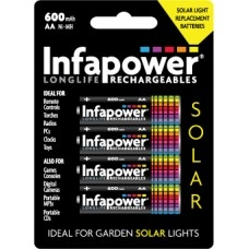 AA-HR6 INFAPOWER SOLAR 600mAh Ni-MH RECHARGEABLE BATTERIES pack of 4