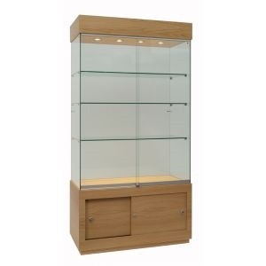 Rectangular Glass Trophy Cabinet with storage cupboard