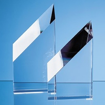 Sloping Edge Clear Crystal Award Plaque