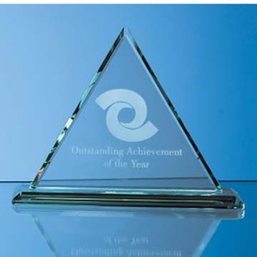 Triangle Shaped Award in Clear or Coloured Glass
