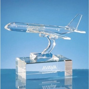 Aeroplane Shaped Crystal Award