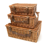 Willow Hamper With Leather Style Straps & Handle