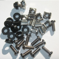 """19"""" Equipment Rack Fixings Cage Nut and Bolt Screw and Cup Washer Pack (12pcs)"""