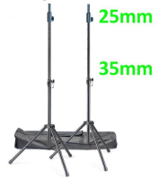 25mm Top Speaker Tripod Stand Set and Carry Case - Black