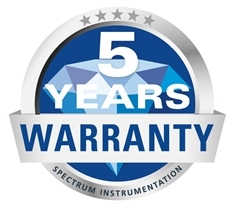 5 year warranty on all Spectrum digitisers, waveform generators and digital I/O systems