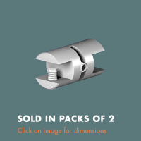 3.25 Double Sided Glass Shelf Support (sold in packs of 2) Satin Polished Stainless Steel