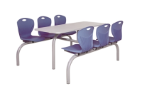 Premium Canteen Furniture 6 Seater Single Entry -  H860mm x W1610mm x L1580mm - Blue