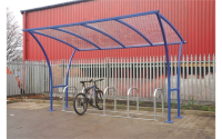 Tintagel Cycle Shelter - H2530 x W2000 x D2150mm - Green - Centred - Powder Coated