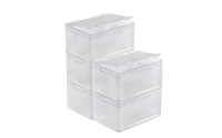 Clear Euro Stacking Containers - Pack of 5 - D400 x W300 x H235mm
