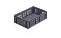 Ventilated Euro Stacking Container - 87 litre - Grey - H225mm x W600mm x D800mm