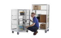 Mobile Storage Cage without doors - H1955mm x W900mm x D600mm - Plywood Shelves - Blue