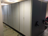Office Tambour Storage Units on Roller Shelving