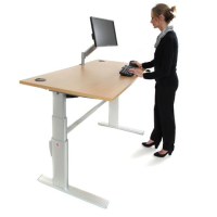 ActiveDesking Sit/Stand Workstations Beech and Silver