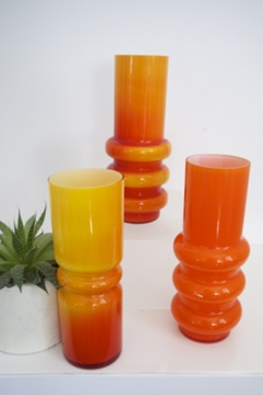 Pop Art Variegated in Shades of Red and Orange Hooped vases by Ryd of Sweden (Glasbruk) 1960s