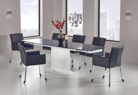 Andy White With Black Glass Dining Table