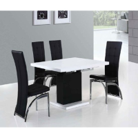 Adrienne Extending High Gloss Table-Chairs Optional