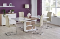 Adele White Gloss And San Remo Oak Dining Table 160-220cm