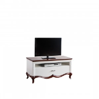 Adelise High Gloss White Small TV Stand With Cherry Wood 114cm