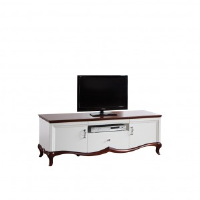 Adelise High Gloss White TV Stand With Cherry Wood 164cm