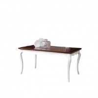 Adelise High Gloss White With Dark Cherry Wood Dining Table