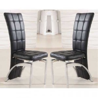 Erika Black Grid Leather Dining Chair