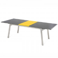 Rupert Grey And Yellow Gloss Extendable Dining Table 188-238cm