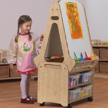 Double Sided Easel And Storage Trolley For Nurseries