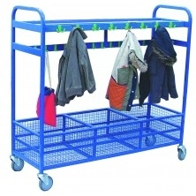 CLOAKROOM TROLLEY WITH MESH STORAGE - 64 HOOKS