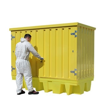 Twin IBC Spill Pallet Bund with hard cover