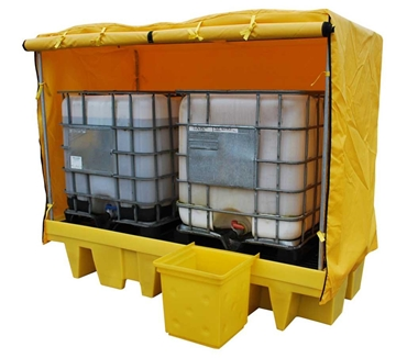 Double 1100 litre IBC Spill Pallet Bund with cover