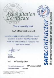 Rap Office Contracts Ltd - Accreditation Certificate