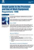 Simple guide to the Provision and use of work equipment