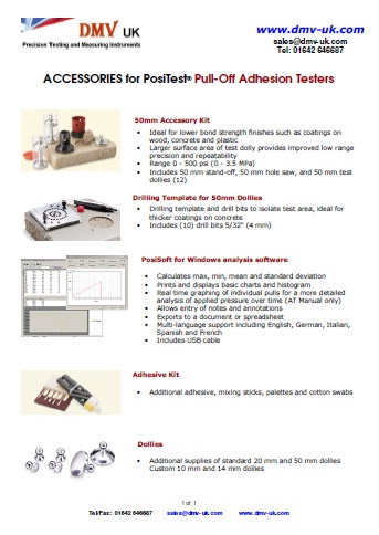 ACCESSORIES for PosiTest® Pull-Off Adhesion Testers