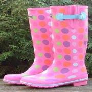 Ladies Evercreatures New Pink Spots Wellington Boots