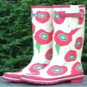 Ladies Evercreatures New Red Poppies Wellington Boots