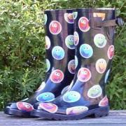 Ladies Smiley Faces Funky Festival Wellies