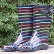 Ladies Black Stripes Funky Festival Wellies