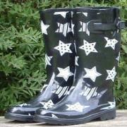Ladies Black Stars Funky Festival Wellies