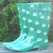 Ladies Green Paws Funky Festival Wellies