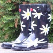Ladies Black Daisies Funky Festival Wellies