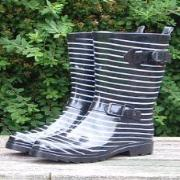 Ladies Grey Stripes Three Quarter Length Wellington Boots