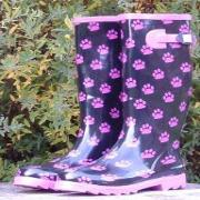 Ladies Pink Paws Kingsonic Wellington Boots