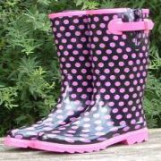 Ladies Black Polka Dot Shoetree Shorter Length Wellies