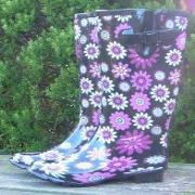 Ladies Daisies Wide Fit Wellies